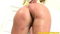 Solo blonde pissing while masturbating Image