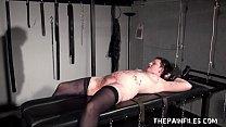 Stapled slaveslut in hardcore bdsm and severe pussy pain on the bondage rack