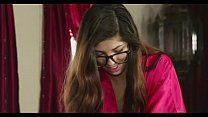 Cute glasses teen gives massage