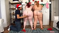 Two Huge Booty BBWS Surprise Fake Santa Claus porn thumbnail