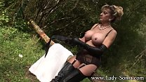 Lady Sonia Fur Coat And Thigh Boots In The Woods preview image