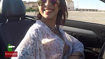 Oops! Great downblouse driving a cabriolet nipp...