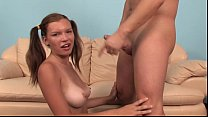 Legal age teenager pretty spreads for man on se...