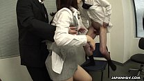 Office Asian whore sucking on three co-workers