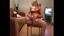 Blonde milf cumming after stripping her red lingirie  on alllxxxcam.com