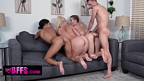 Three Attractive BFFs Decide To Sneak Into Their Neighbours Pool But Get Surprised By Hard Dick