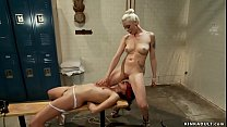 Cheated wife whips bound nanny in gym