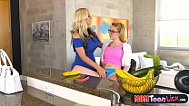 Stepmom busts horny teen and helps her out with that preview image