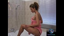 Karina getting soaped up as she pleasures herself in the shower preview image