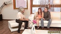 Slender blonde teen and young baby Unexpected practice with an older