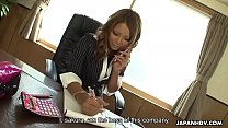 Gorgeous Japanese boss vigorously toys her twat in the office - 9Club.Top