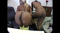 Naughty blonde and brunette ebony babes lick each other before blowing white stud Preview