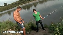 GAYWIRE - Euro Hunk Dee Pop's Virgin Justin's Anal Cherry OUT IN PUBLIC