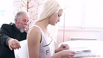 Blonde teen Tan ya surprised by the old man&#0  the old man&#039s sexual streng