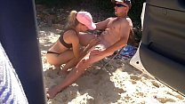 Beach babe sucks and fucks hard cock on the beach #4