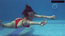 Brunette Big Tits Babe Mia Ferrari Swims In The