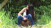Squatting To Pee - Brunette Rebecca pulls down ...
