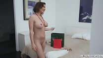 Busty hot momma Krissy Lynn gave her handsome stepson a nice titty fuck and even swallowed his hot cum. thumbnail