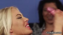 Flirty looker gets cumshot on her face eating all the love juice