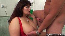 Big boobs mom riding his cock thumbnail