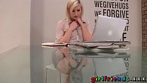 Girlfriends Blonde stunner stops work for some solo girl fun preview image