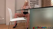 Girlfriends Blonde stunner stops work for some solo girl fun thumbnail