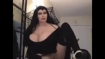 teddi barrett  big boob in black dress on sta ck dress on stair