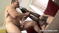 Horny nasty bitch cum bucket gets Fine Chica twat stuffed hard thumbnail
