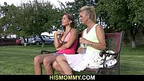 Only opaques - Old mom pleases her son's gf with dildo thumbnail