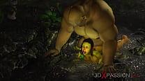 Horny Female Goblin Arwen And Green Monster Ogr