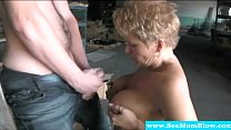 Cougar getting nude outdoors and sucking
