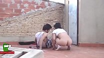 Eating a brunette pussy and the fucking her ass...