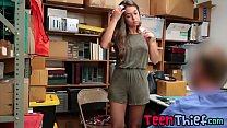 Teen thief got her pussy fucked by a security guard because of shoplifting