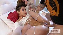 Pretty teen brunette Catalina Ossa gets her face and pussy fucked out