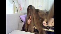 Fantastic Long Haired Playing With Hair Brush L...