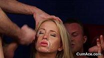 Frisky stunner gets cumshot on her face eating all the jizz