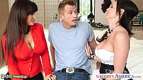 Busty babes Kendra Lust and Lisa Ann fuck in threesome thumbnail