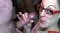 Nasty bukkake sluts munching on cocks and balls