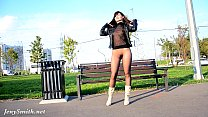 Jeny Smith seamless pantyhose suit public flash Image