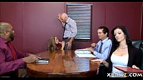 Image: Big boobs MILF boss has her employee fuck her in the office