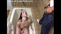 Teen slave take a piss bath and drink piss