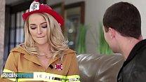 Blonde firefighter milks that firehose till it blows - Reality Junkies