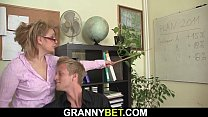 He seduces and fucks busty old mature office woman Thumbnail