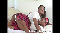 Stunning identical lesbian twins, sexy ebony French twin.