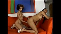 Two black young lesbians Angel Marie and Baby Doll fucking with double-headed dildo