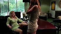 Blonde MILF seduces a lusty girl to fuck in her office pornhub video