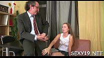 Horny elderly teacher is pounding chick's cunt tenaciously