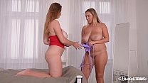 Busty lesbian Milfs Krystal Swift & Suzie enjoy strap-on XXX action at home preview image