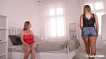 Busty lesbian Milfs Krystal Swift & Suzie enjoy strap-on XXX action at home