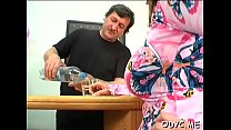 Tiny titted amateur gets drilled in lots of poses by old fellow Vorschaubild